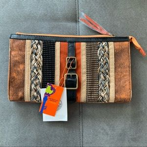 NWT Nicole Lee Leather Brown & Orange with Beads